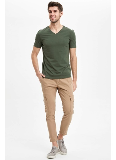 DeFacto Basic Slim Fit T-Shirt Haki